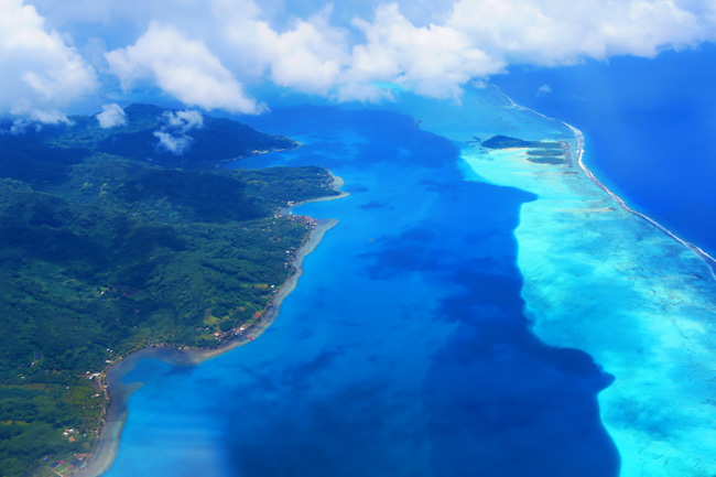 view of tahaa island from the air tahaa french polynesia