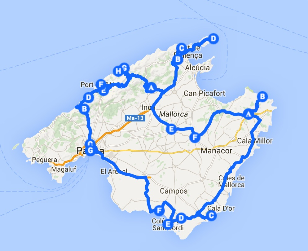 10 Days in mallorca sample itinerary map