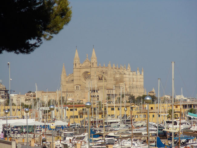 Palma cathedral from marina Mallorca