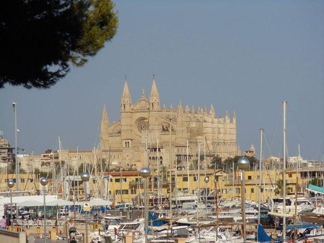 Palma cathedral from marina Mallorca