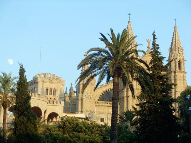 Palma cathedral with moon Mallorca