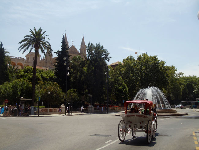 Palma de Mallorca cathderal and wagon