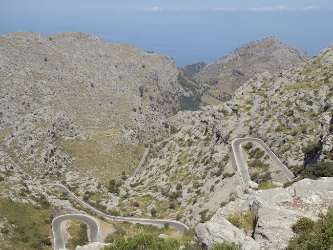 Winding road in Mallorca to Sa Calobra