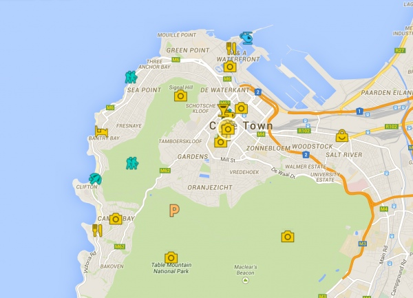 4 Days in Cape Town Itinerary Guide Map