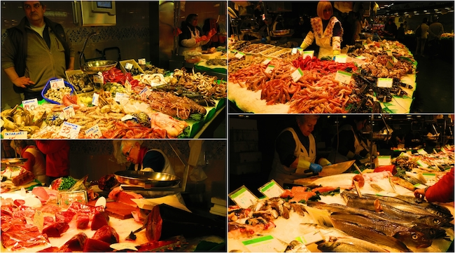 Barcelona Market seafood section collage