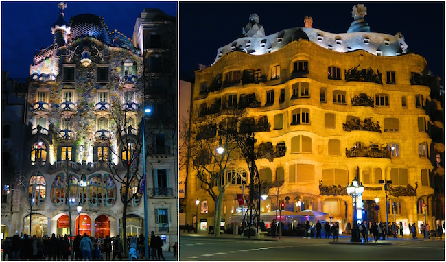 Barcelona Modernista buildings by night