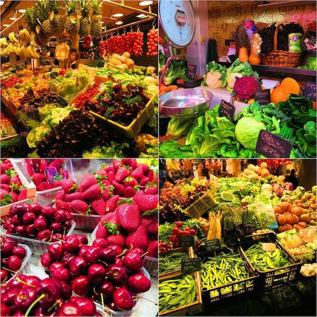 Barcelona market fruits and vegetables collage