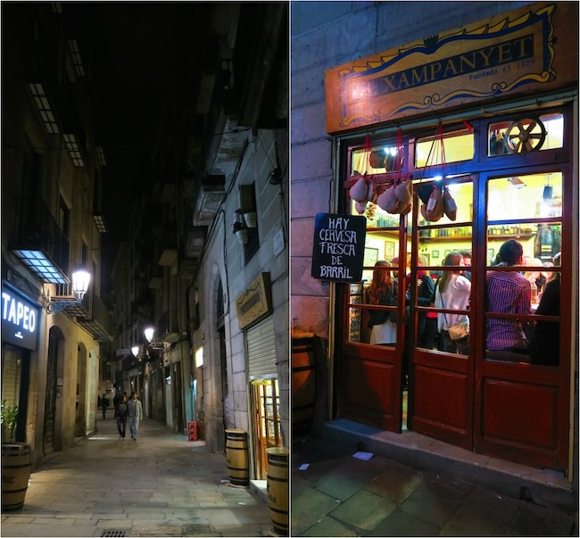 Barcelona streets at nights narrow alleys
