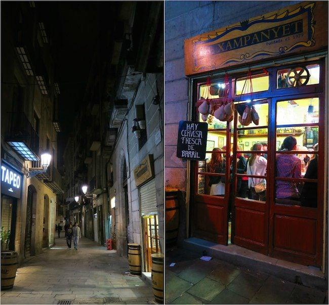 Barcelona streets at nights narrow alleys