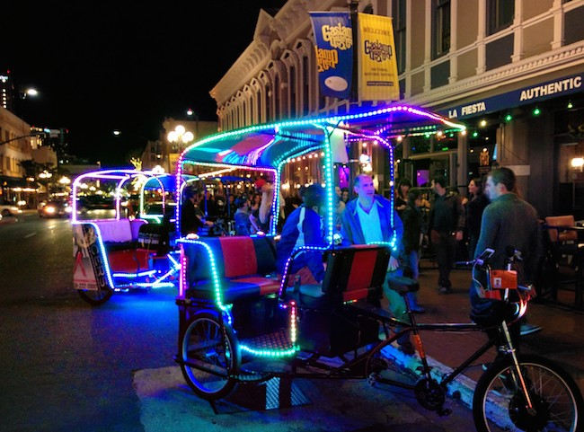 Gaslamp District San Diego getting around on tricycle