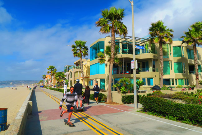 Mission Beach promenade skateboarding