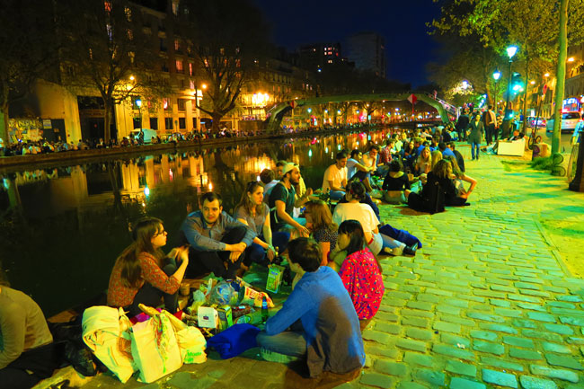 Canal Saint Martin Paris on warm night