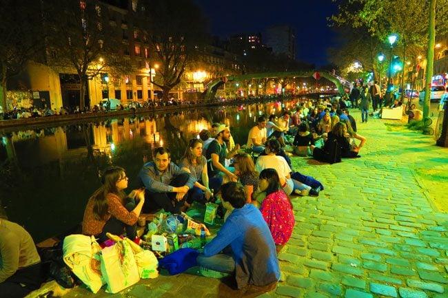 Canal Saint Martin Paris on warm night