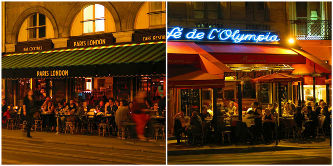 Paris cafes by night