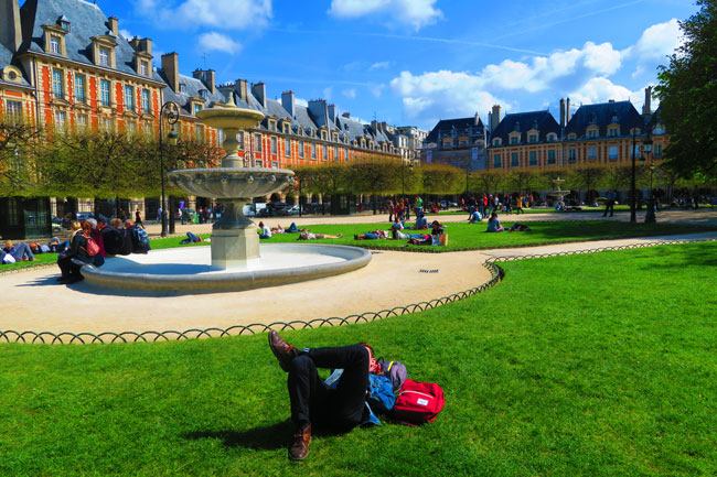 Relaxing at Place de Vosges Paris