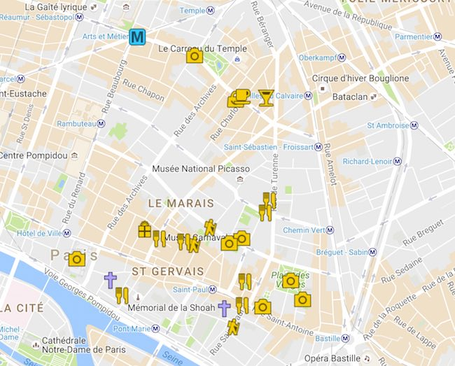 Things to do in Paris on Sunday - Sunday in the Marais - Map