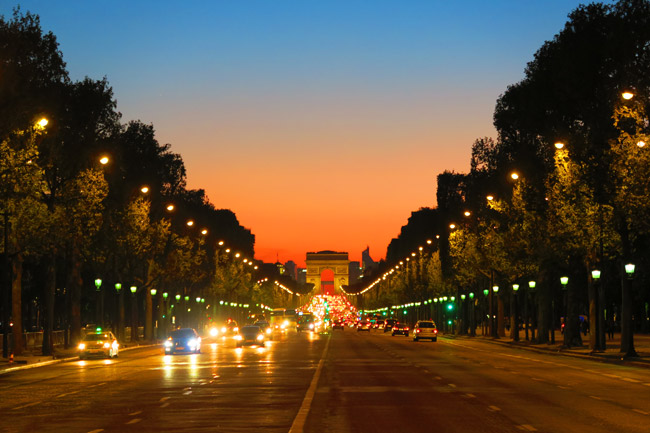 Arc de Triomphe Paris twighlight sunset photo