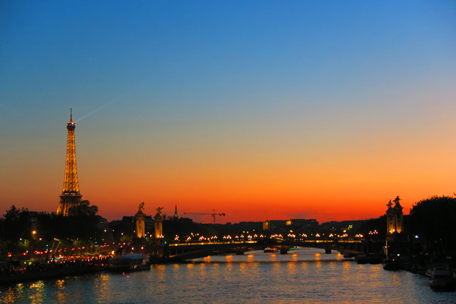 Eiffel Tower Paris twighlight sunset photo