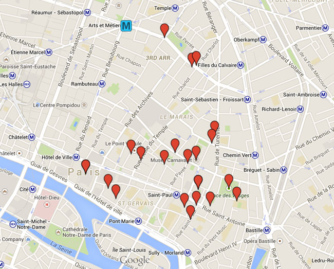 Itinerary Map Marais Paris Things To Do X Days In Y - Paris things to do map