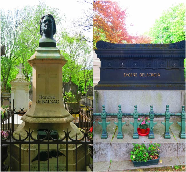Balzac and Delacroix graves Pere Lachaise cemetery Paris