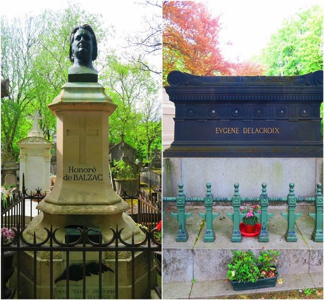 Balzac and Delacroix graves Pere Lachaise cemetery Paris
