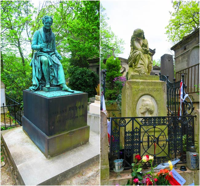 Chopin and Denon graves Pere Lachaise Cemetery Paris