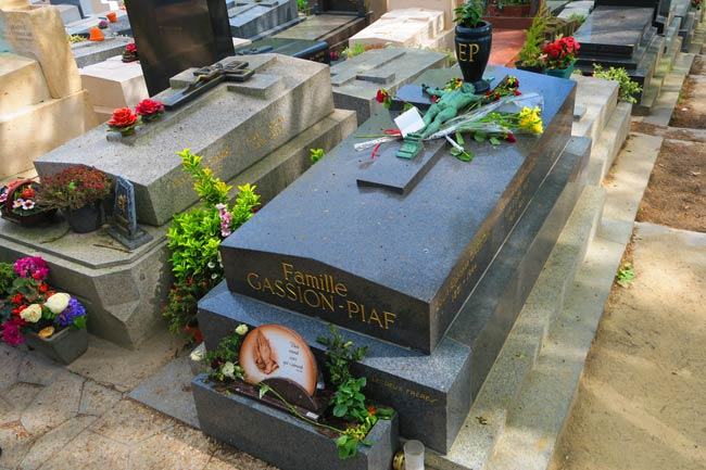 Edith Piag grave Pere Lachaise Cemetery Paris