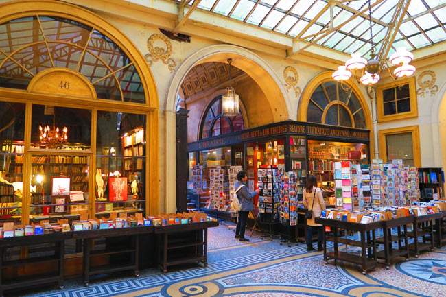 Galerie Vivienne book store Paris passage - rainy day in paris