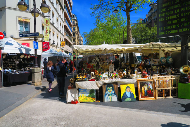 Paris antique street market rue cler Saturday