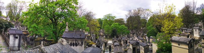 Visiting Pere Lachaise Cemetery Paris panoramic view