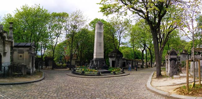 Pere Lachaise Cemetery Paris Panoramic view