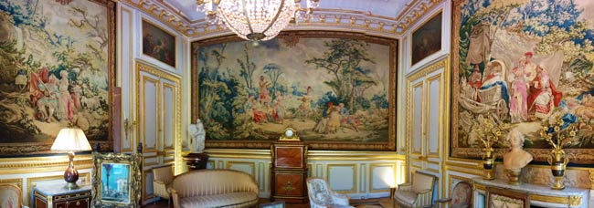 Tapestry Room panormaic view at Musee Jacquemart Andre Paris museum