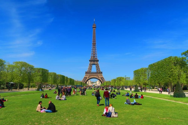 View of Eiffel Tower from Champ de Mars Paris Cover