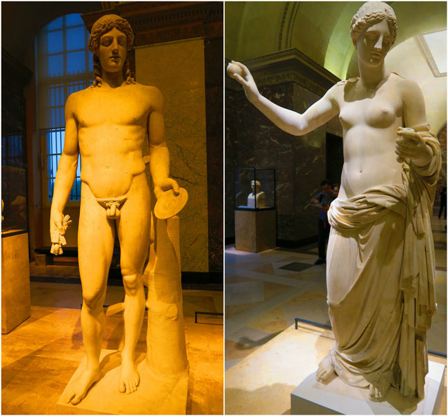 Apollo and aphrodite sculptures loyvre museum