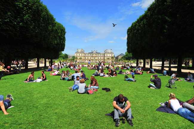 Chiiling on the Luxembourg Gardens lawn