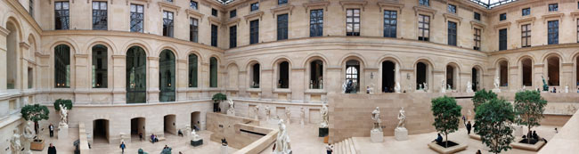 Cour Marly & Cour Puget panoramic view louvre