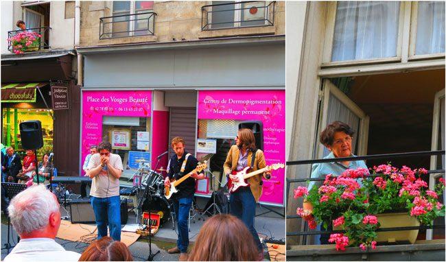 fete de la musique paris music festival marais woman from window