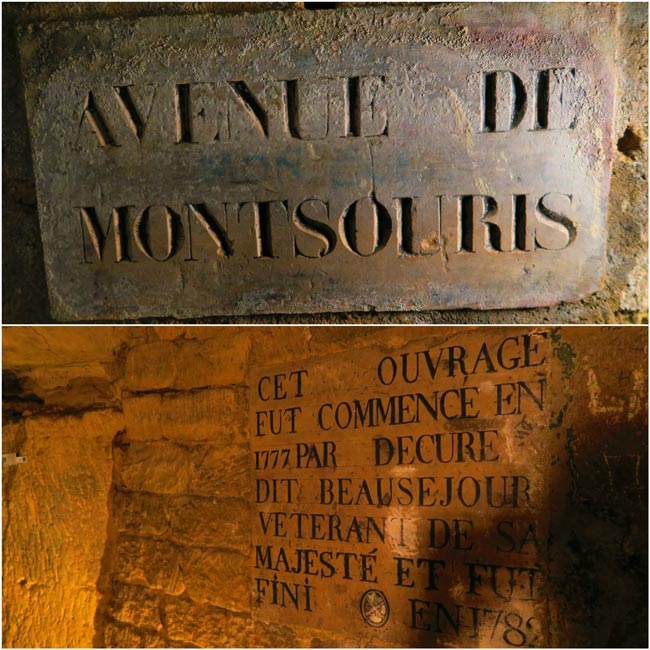 inscriptions in catacombs paris underground