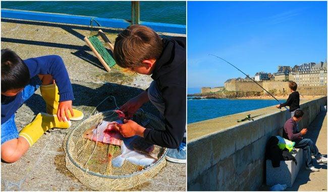 kids fishing off saint malo lighthouse
