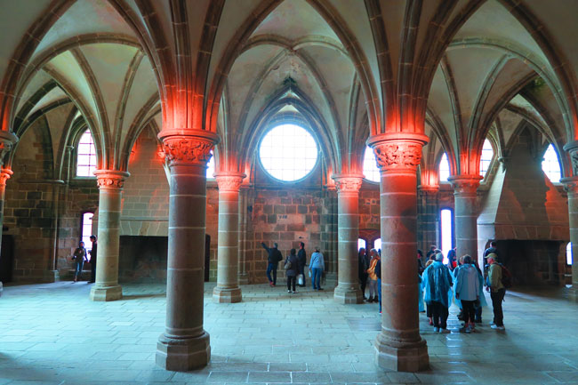knights hall mont saint michel abbey