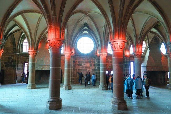 knights hall mont saint michel abbey