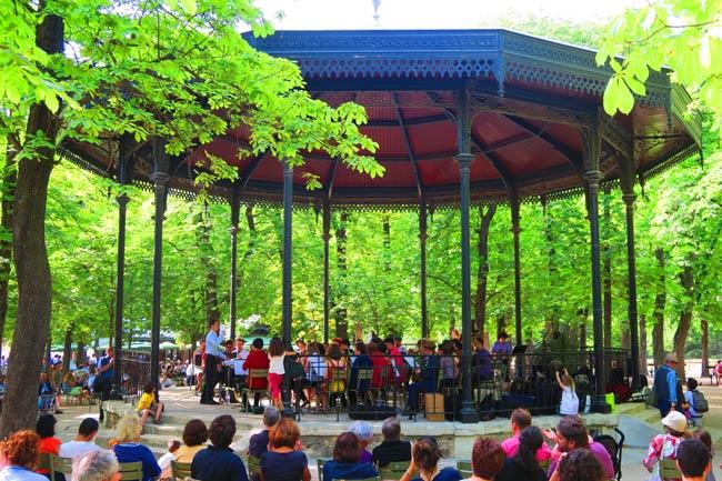 Luxembourg Garden Paris musical concert gazebo
