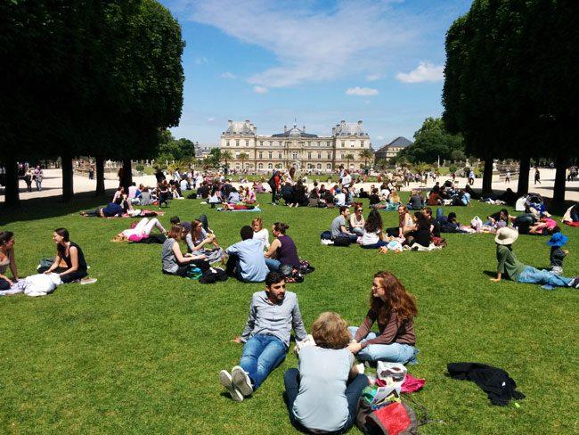 Luxembourg Garden Paris sit down lawn