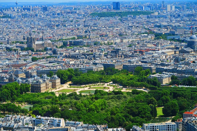 Luxembourg Gardens View from Montparnasse Tower Paris