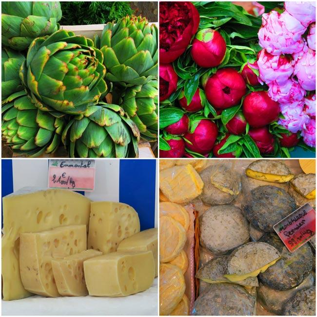 Marche Monge parisian food market collage 2