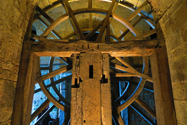 massive wheel mont saint michel abbey
