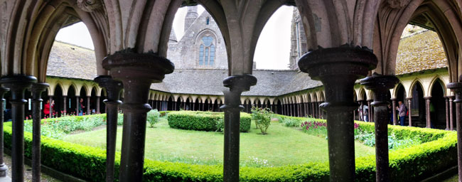 mont saint michel abbey cloister panoramic view