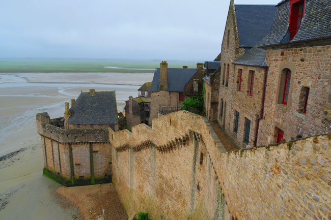 mont saint michel view of town from ramparts