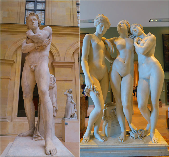 Nude french sculptures Richelieu Wing louvre museum