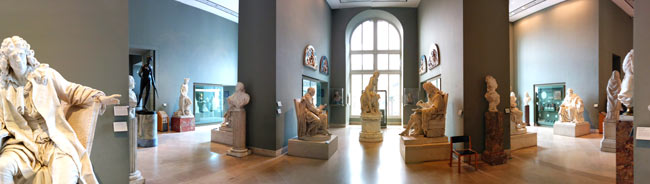 Panoramic view Richelieu Wing french sculptures